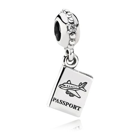 Adventure Awaits Dangle Charm, Clear CZ