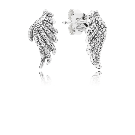 Majestic Feathers Stud Earrings, Clear CZ