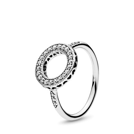 Hearts of PANDORA Halo Ring, Clear CZ, Sterling silver, Cubic Zirconia - PANDORA - #191039CZ