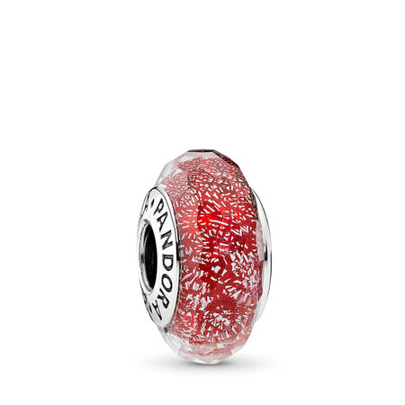Red Shimmer Charm, Murano Glass, Sterling silver, Glass, Red - PANDORA - #791654