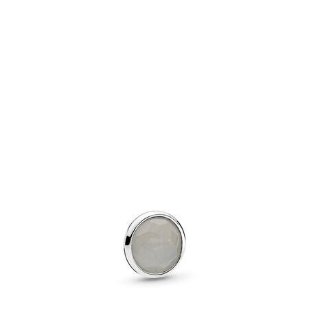 fde7100027061 June Droplet Petite Locket Charm Sterling silver, Moonstone