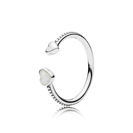 Hearts of Love Ring, Silver Enamel