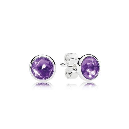 February Droplets Stud Earrings, Synthetic Amethyst