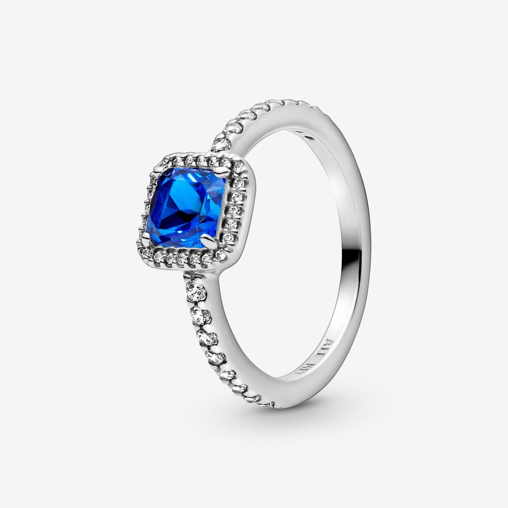 Blue Square Sparkle Halo Ring Sterling Silver Pandora Us