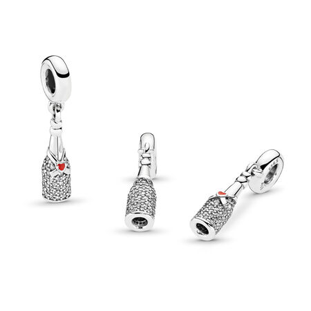 Celebration Time Dangle Charm, Red Enamel & Clear CZ