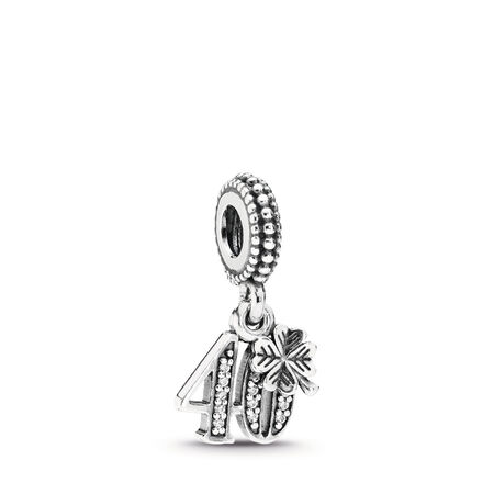 40 Years Of Love Dangle Charm, Clear CZ, Sterling silver, Cubic Zirconia - PANDORA - #791288CZ