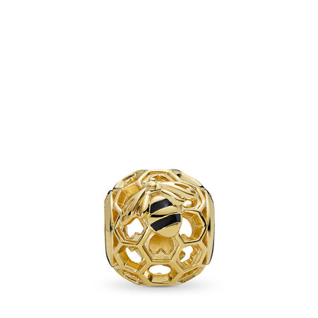PANDORA Honeybee Charm, PANDORA Shine™, 18ct Gold Plated, Enamel, Black - PANDORA - #767023EN16