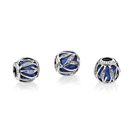 Nature's Radiance Charm, Royal Blue Crystal & Clear CZ