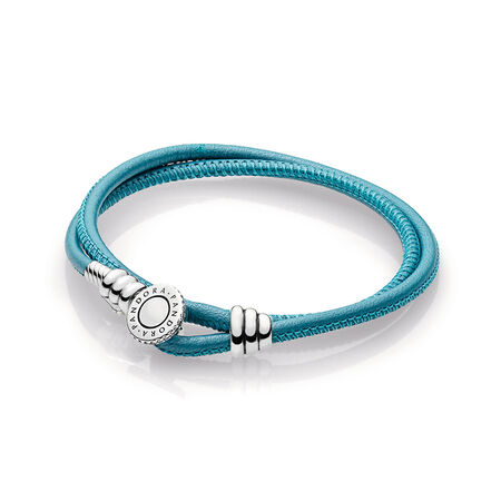 Turquoise Double Leather Bracelet, Clear CZ, Sterling silver, Leather, Turquoise, Cubic Zirconia - PANDORA - #597194CTQ-D