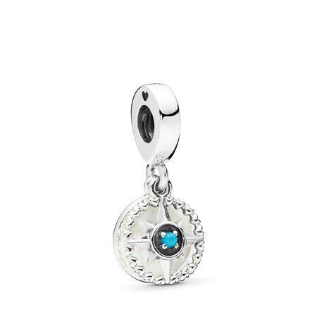 Compass Rose Dangle Charm, Silver Enamel & Cyan Blue Crystal