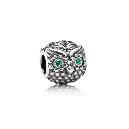 Wise Owl Charm, Dark Green CZ