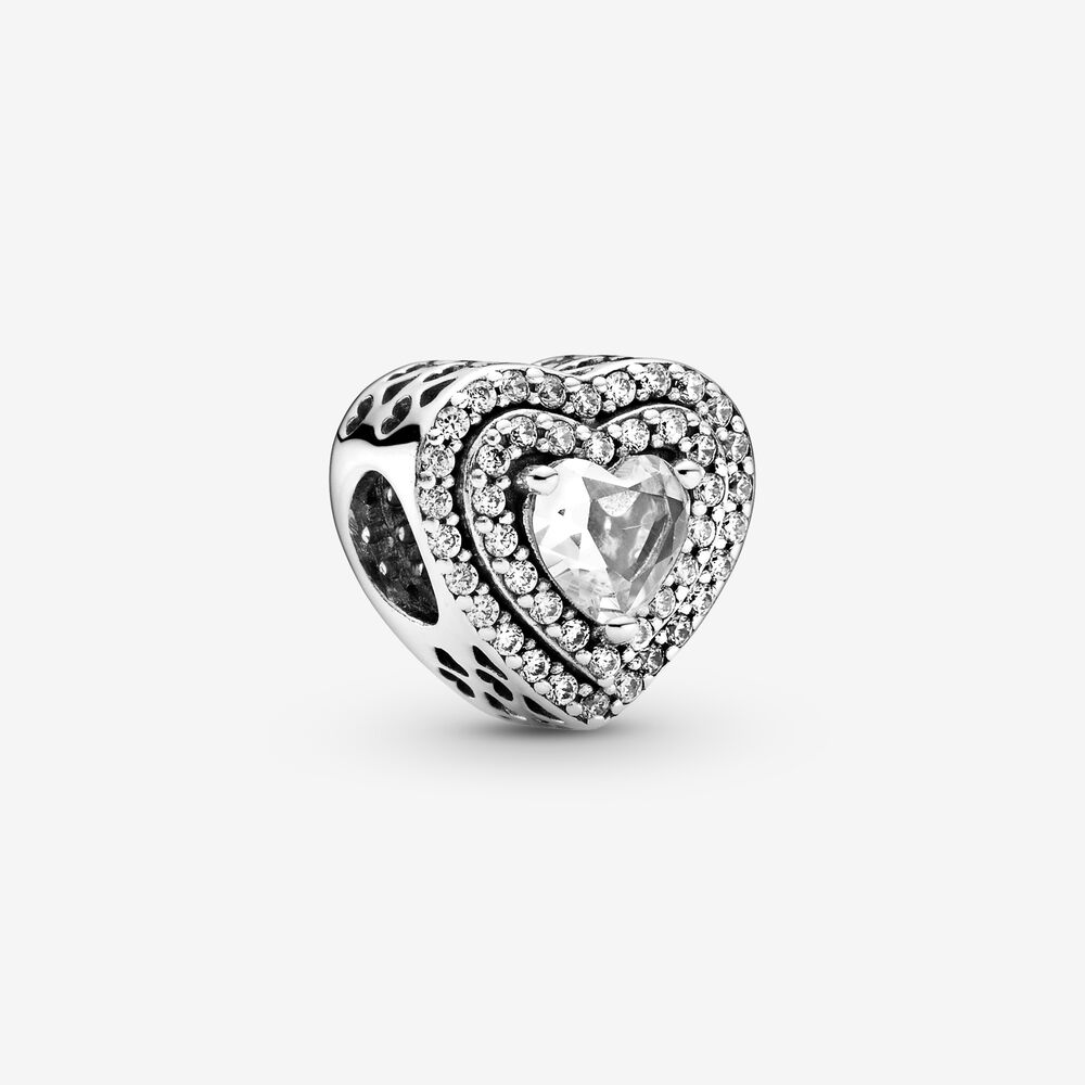Sparkling Leveled Hearts Charm | Sterling silver | Pandora US