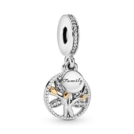 Sparkling Family Tree Dangle Charm, Two Tone, Cubic Zirconia - PANDORA - #791728CZ