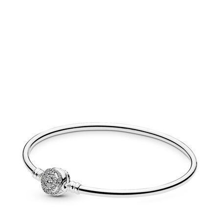 Disney, Beauty & The Beast Bangle Bracelet, Clear CZ