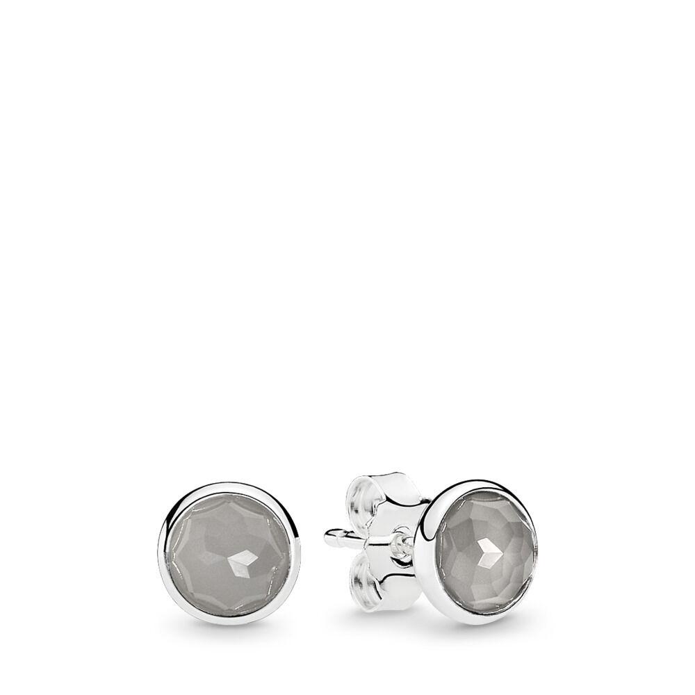 Pandora Moonstone Earrings: June Droplets Stud Earrings, Grey Moonstone