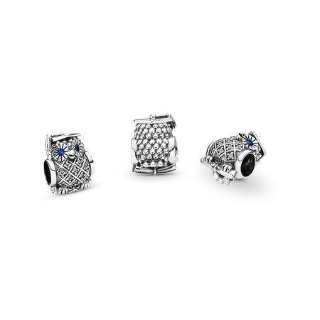 Graduate Owl, Swiss Blue Crystal & Clear CZ, Sterling silver, Blue, Mixed stones - PANDORA - #791502NSB