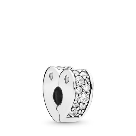 Sparkling Arcs of Love Clip, Clear CZ, Sterling silver, Silicone, Cubic Zirconia - PANDORA - #797020CZ