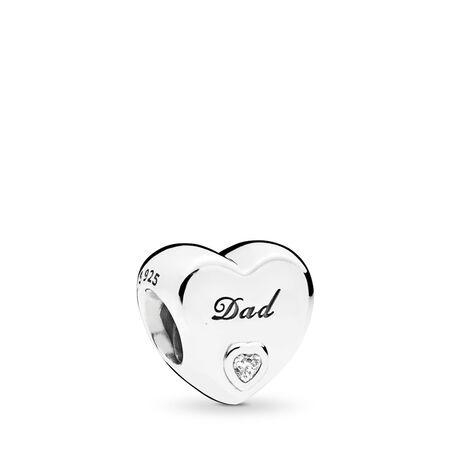 Dad's Love Charm, Clear CZ, Sterling silver, Cubic Zirconia - PANDORA - #796458CZ