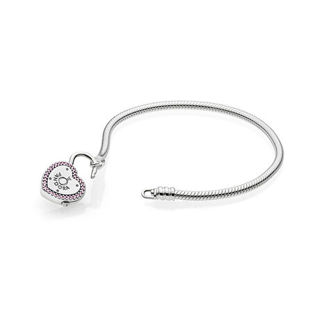 Lock Your Promise Bracelet, Fancy Fuchsia Pink & Clear CZ
