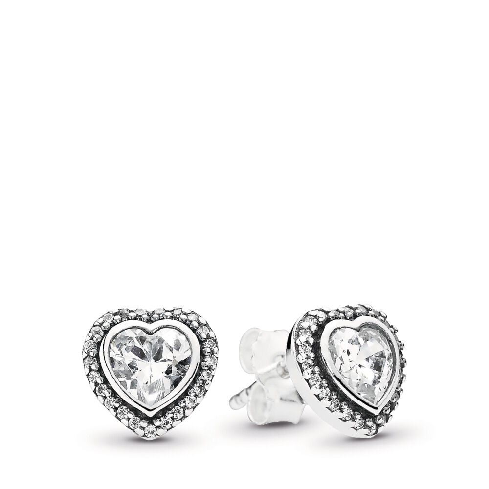 95ab2f343 Sparkling Love Stud Earrings, Clear CZ, Sterling silver, Cubic Zirconia -  PANDORA -