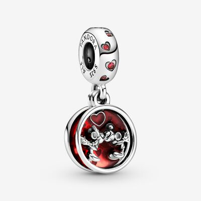 Disney Mickey Mouse & Minnie Mouse Love and Kisses Dangle Charm , Silver