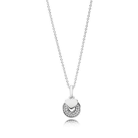 Necklaces for her shop the collection pandora jewelry us celebration hearts pendant necklace clear cz aloadofball Choice Image