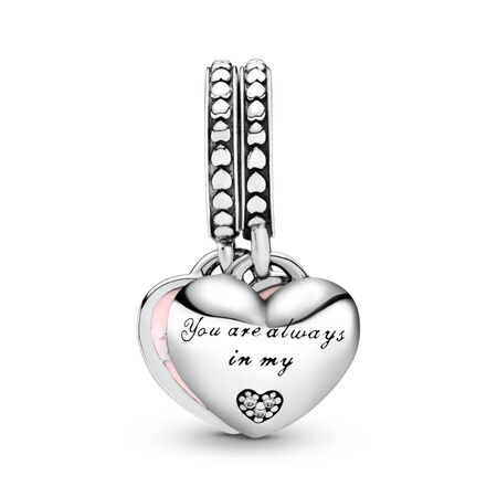 Mother & Daughter Hearts Dangle Charm, Soft Pink Enamel & Clear CZ