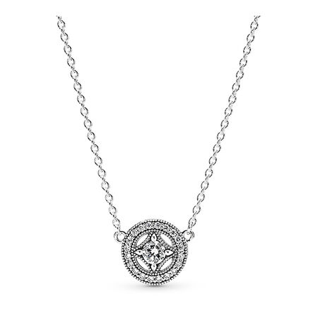 Vintage Allure Pendant Necklace, Clear CZ