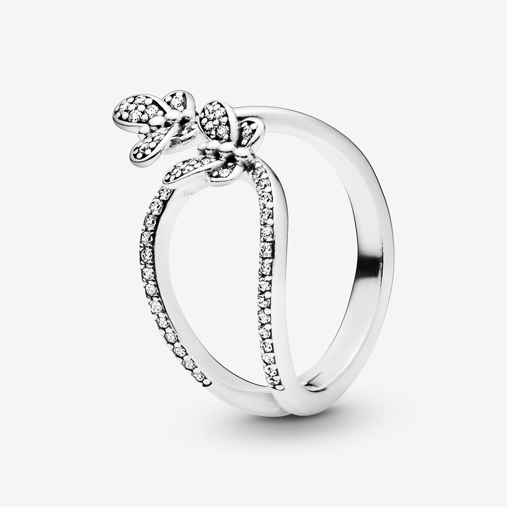 Sparkling Butterfly Open Ring