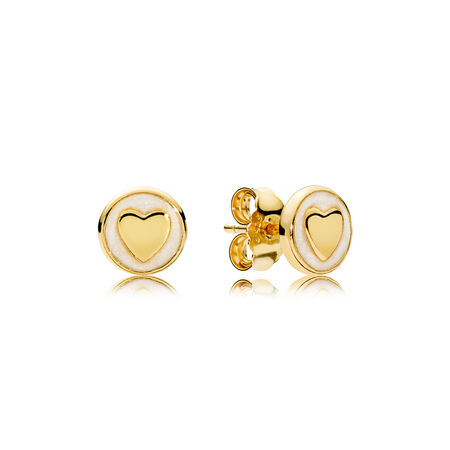 Sweet Statements Stud Earrings, PANDORA Shine™ & Silver Enamel