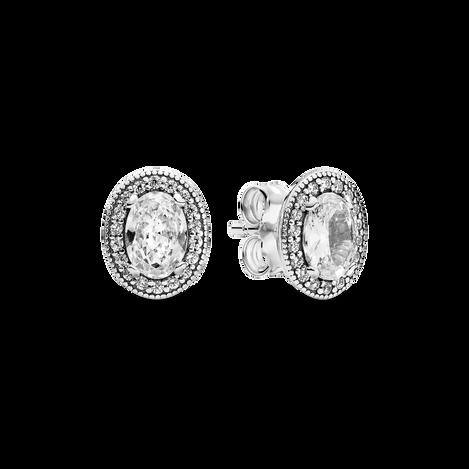 Oval Sparkle Halo Stud Earrings
