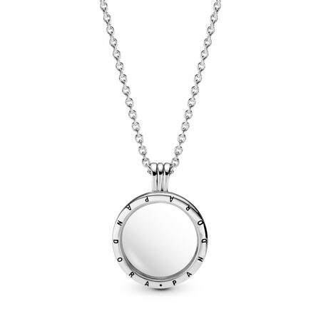PANDORA Floating Locket Pendant, Medium, Sapphire Crystal Glass, Sterling silver, Glass - PANDORA - #590529
