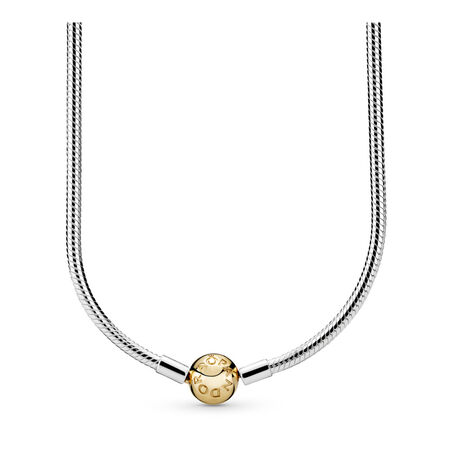 Sterling Silver Charm Necklace with 14K Gold Clasp