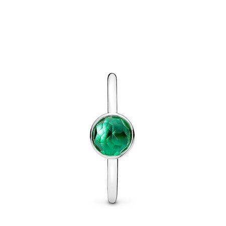 May Droplet Ring, Royal-Green Crystal