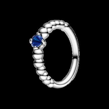 September Sea Blue Beaded Ring