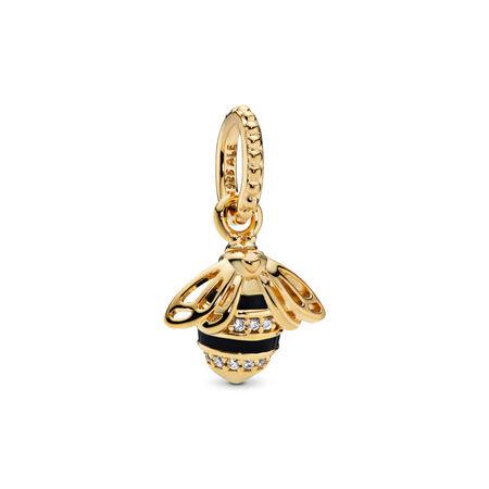 Queen Bee Pendant, PANDORA Shine™, Black Enamel & Clear CZ, 18ct Gold Plated, Enamel, Black, Cubic Zirconia - PANDORA - #367075EN16