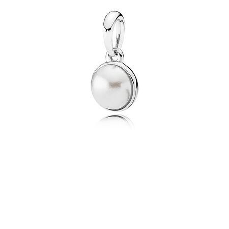 Luminous Droplet Pendant, White Crystal Pearl