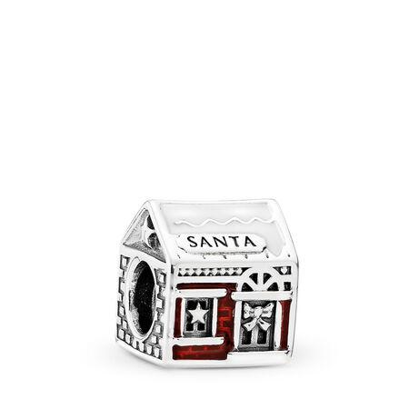Santa's Home Charm, White & Translucent Red Enamel