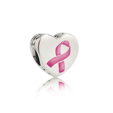 Hope Ribbon Charm, Pink Enamel