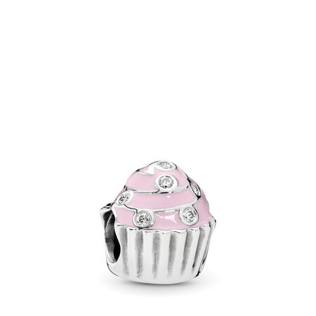 Sweet Cupcake Charm, Light Pink Enamel & Clear CZ