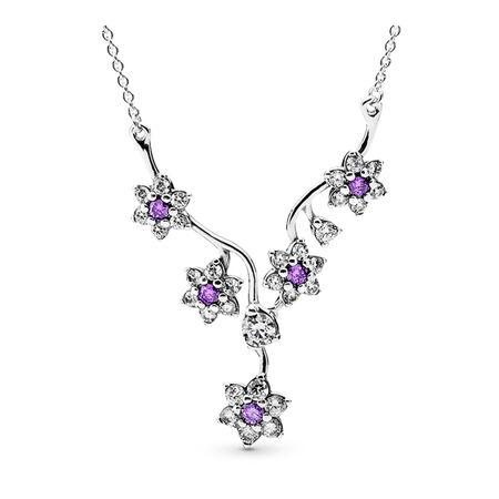 Forget Me Not Necklace, Purple & Clear CZ, Sterling silver, Purple, Cubic Zirconia - PANDORA - #590519ACZ