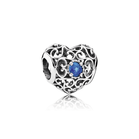 December Signature Heart Charm, London Blue Crystal