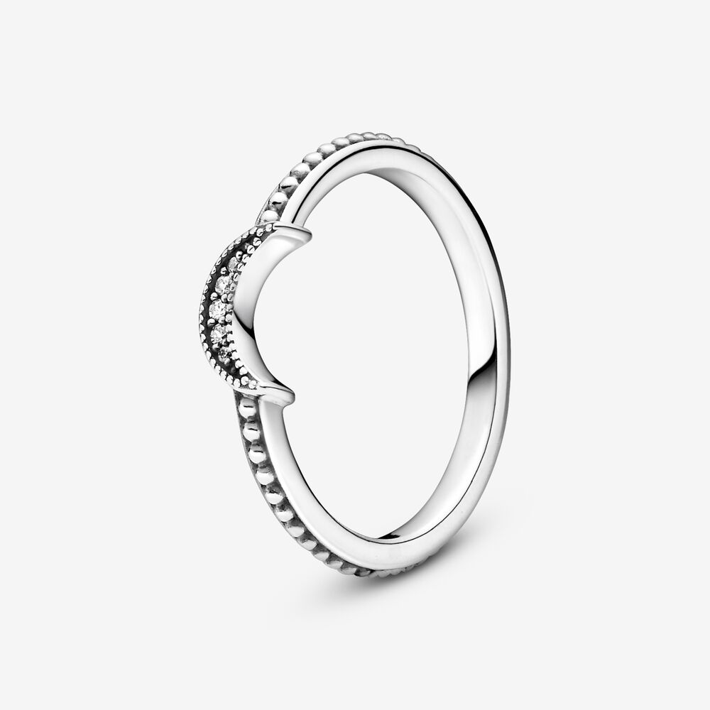 Crescent Moon Beaded Ring | Sterling silver | Pandora US