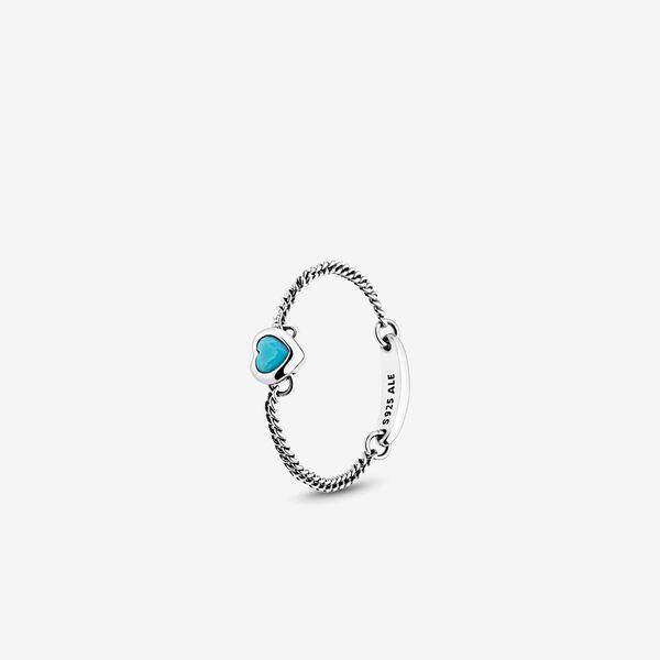 Spirited Heart Ring Cyan Blue Crystal Sterling Silver