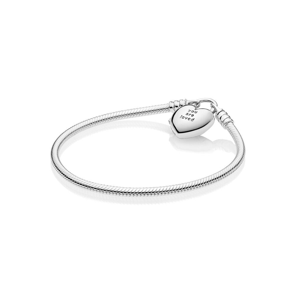 d67d4e341 You Are Loved Heart Padlock Bracelet, Sterling silver - PANDORA - #597806