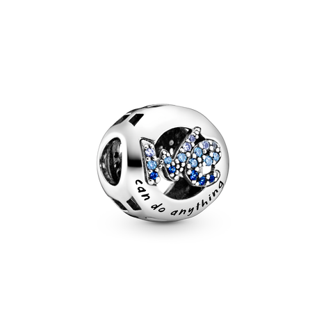 Me and we sterling silver charm with true blue and forever blue crystal and fancy blue cubic zircoia