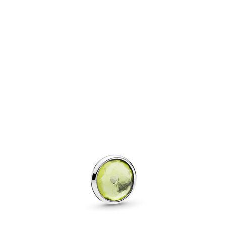 August Droplet Petite Locket Charm, Sterling silver, Peridot - PANDORA - #792175PE