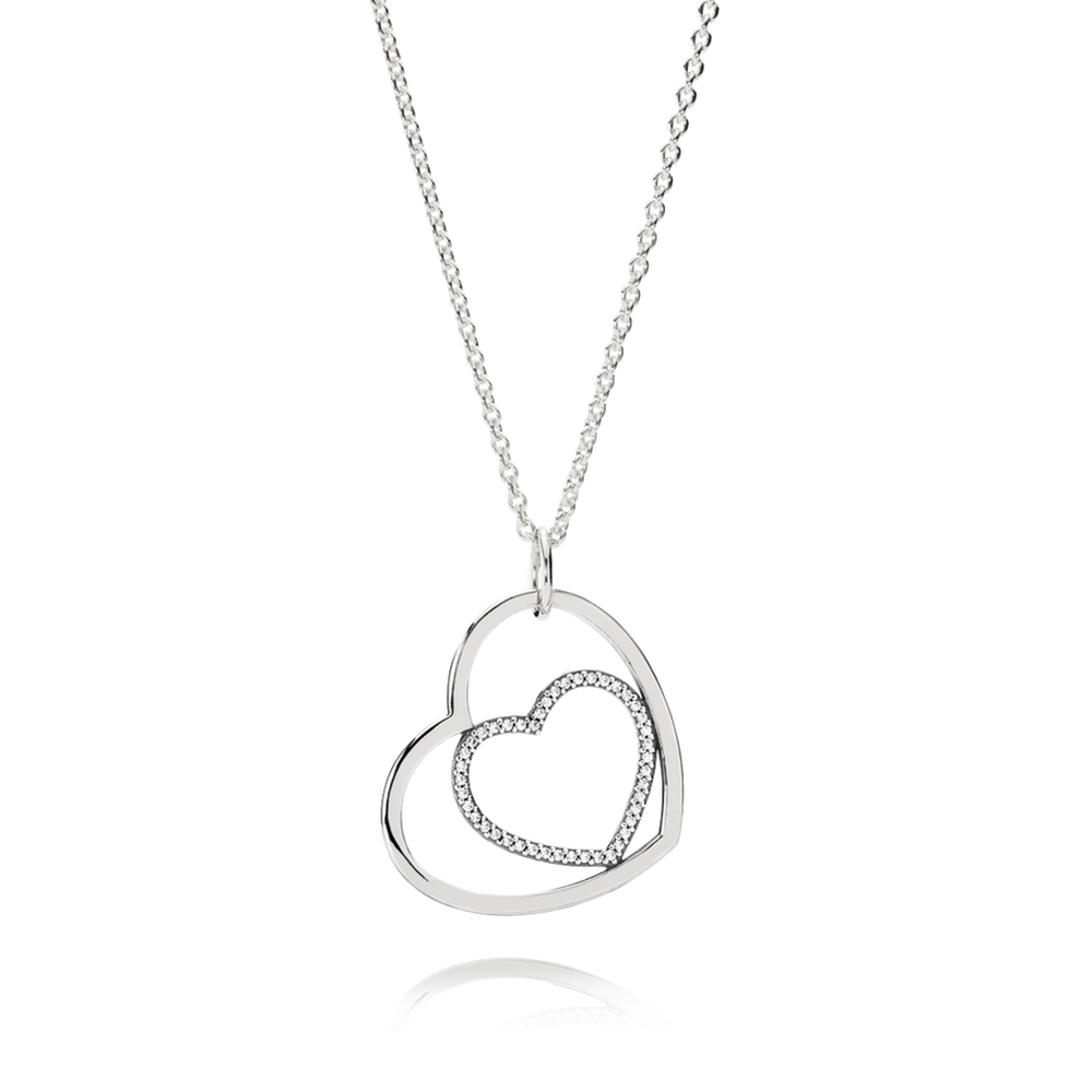Heart to heart pendant necklace clear cz pandora jewelry us heart to heart pendant necklace clear cz mozeypictures Images
