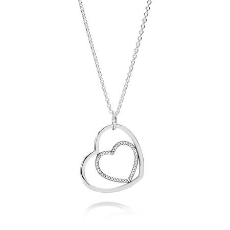 Heart To Heart Pendant Necklace, Clear CZ