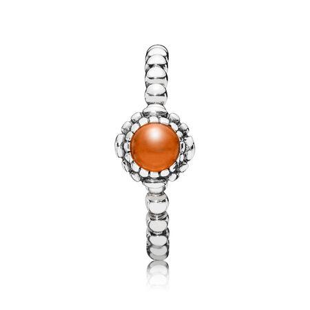 Birthday Blooms Ring, July, Carnelian, Sterling silver, Orange, Carnelian - PANDORA - #190854CAR